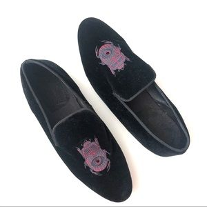House of Hounds Velvet Bug Embroidered Loafers